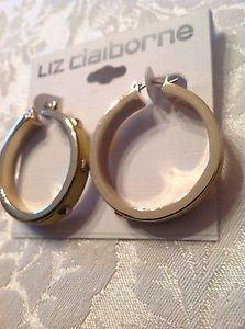 Liz Claiborne Yellow Leather Stud Hoop Earrings Goldtone