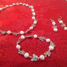 BUTTERFLY PEARL 3 PC SET -  EARRINGS, BRACELET &  NECKLACE SET