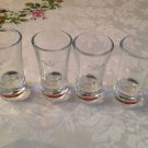 4 Sobieski Vodka Clear Shot Glasses With Sobieski Name & Crown Logo Glass