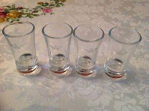 4 Sobieski Vodka Clear Shot Glasses With Sobieski Name & Crown Logo Glass