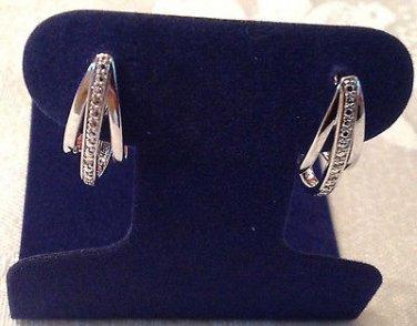 Diamond J Hoop Fashion Earrings Platinum Overlay .01 Carats
