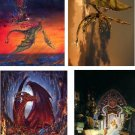 Lot Of 12 Fantasy Dragons & Wizards Fabric Panel Quilt Squares