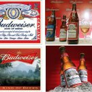 Lot Of 4 Budweiser Beer Fabric Panel Quilt Squares