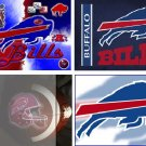 Lot Of 4 Buffalo Bills Football Fabric Panel Quilt Squares