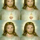 Lot Of 4 Jesus Sacred Heart Fabric Panel Quilt Squares