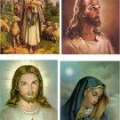 Lot Of 6 Religious Jesus Fabric Panel Quilt Squares