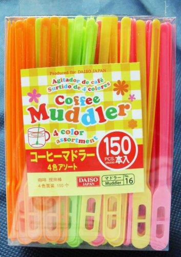 "Plastic Coffee Tea Muddler 4.3"" 150pcs Assorted Color"