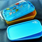 2 Layer Lunch Box Bento Case Car Plastic Container with Clear Lid and Silicone Belt