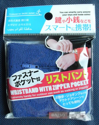 Zipper Pocket Blue Wristband Zip Sweatband Wallet Purse Wrist Band