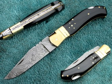 Astonishing Custom Hand Made Marvelous Damascus Steel Folding Knife (HK-278)