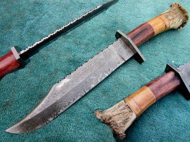 Astonishing Custom Hand Made Damascus Steel Hunting Bowie Knife (HK-268)