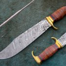 CUSTOM MADE HANDMADE BEAUTIFUL DAMASCUS STEEL HUNTING BOWIE KNIFE (HK-503)