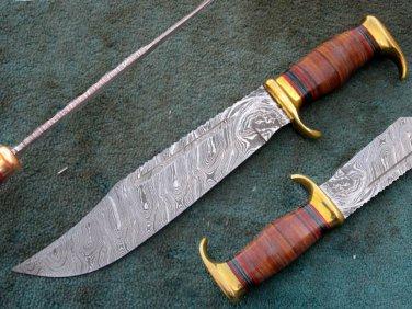 CUSTOM MADE HANDMADE BEAUTIFUL DAMASCUS STEEL HUNTING BOWIE KNIFE (HK-503)