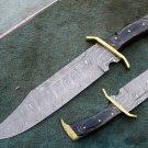 HANDMADE CUSTOM MANUFACTURED DAMASCUS STEEL HUNTING RAMBO BOWIE KNIFE ( HK-502)