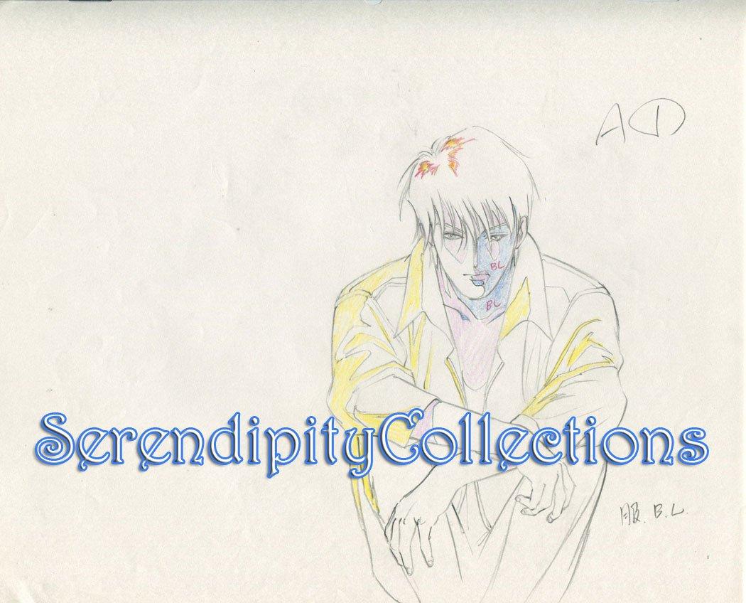 Ai no Kusabi Production Genga  (Riki in shadows looking sad)