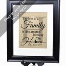 The Family Burlap Print + Frame and Mat