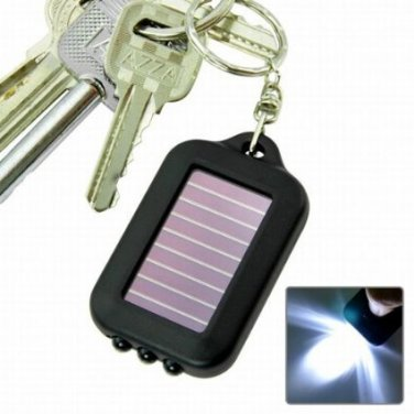 Solar powered  LED flashlight with keychain