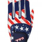 USA Multi Fit Golf Glove, Left Hand, One Size, Red/White/Blue