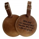 Personalized Leather Bag Tag. Round or Rectangular