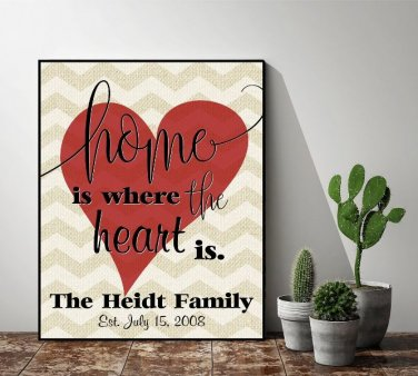 Personalized Home Is Where The Heart Is Sign (12 x 15 )