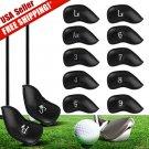 12 pcs Black PU Leather Golf Iron Head covers