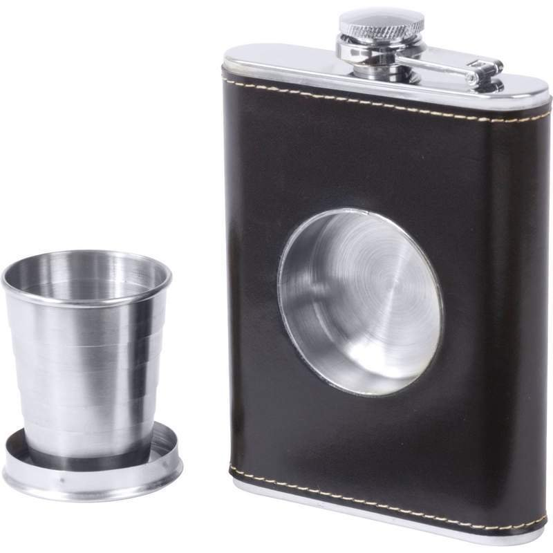 Flask wit Built in Shot Glass  6.8 oz