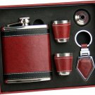 7 oz Leather Flask Set... 5 pieces...Amazing Set
