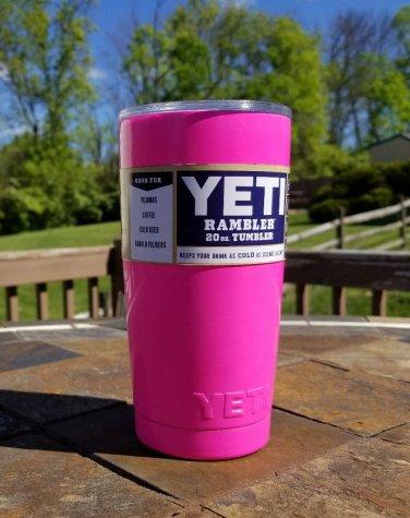 20oz YETI Rambler Tumbler Stainless Steel Cup - Hot Pink
