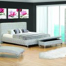 Madison Eastern King Size Modern Silver Platform Bed with Cystals
