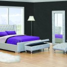 Sopranos Modern Queen Silver Platform Bed with Tufted Crystals