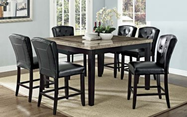 HY2080 - Tufted Back w/ Buttons Counter Height Stools - Faux Leather (Set of 2 Pcs)