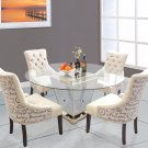 YJ001 - 5 Pcs Round Glass Dinette Set (Mirrored Base w/ Antique Bronze Finish)