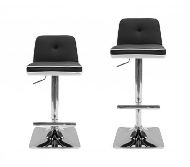 HY6008 - (Black) 2 Pcs Set All Modern Duo Color Swivel Bar Stool