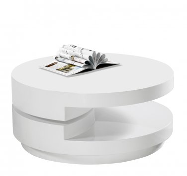 TR10 - High Gloss White Modern Swivel Coffee Table