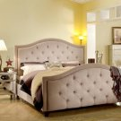 FRA2011 - (Queen) Nicolette Taupe Upholstered Bed - Linen Blend