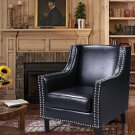 ZH115 - Charles Knight (Black) Modern Faux Leather Accent Chair