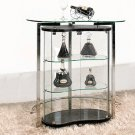 C1003 – Contemporary Bar Table & Wine Cabinet (Black/ Clear Glass)