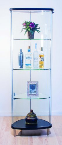 C1031 - Corner Glass Modern Cabinet w/ Lighting