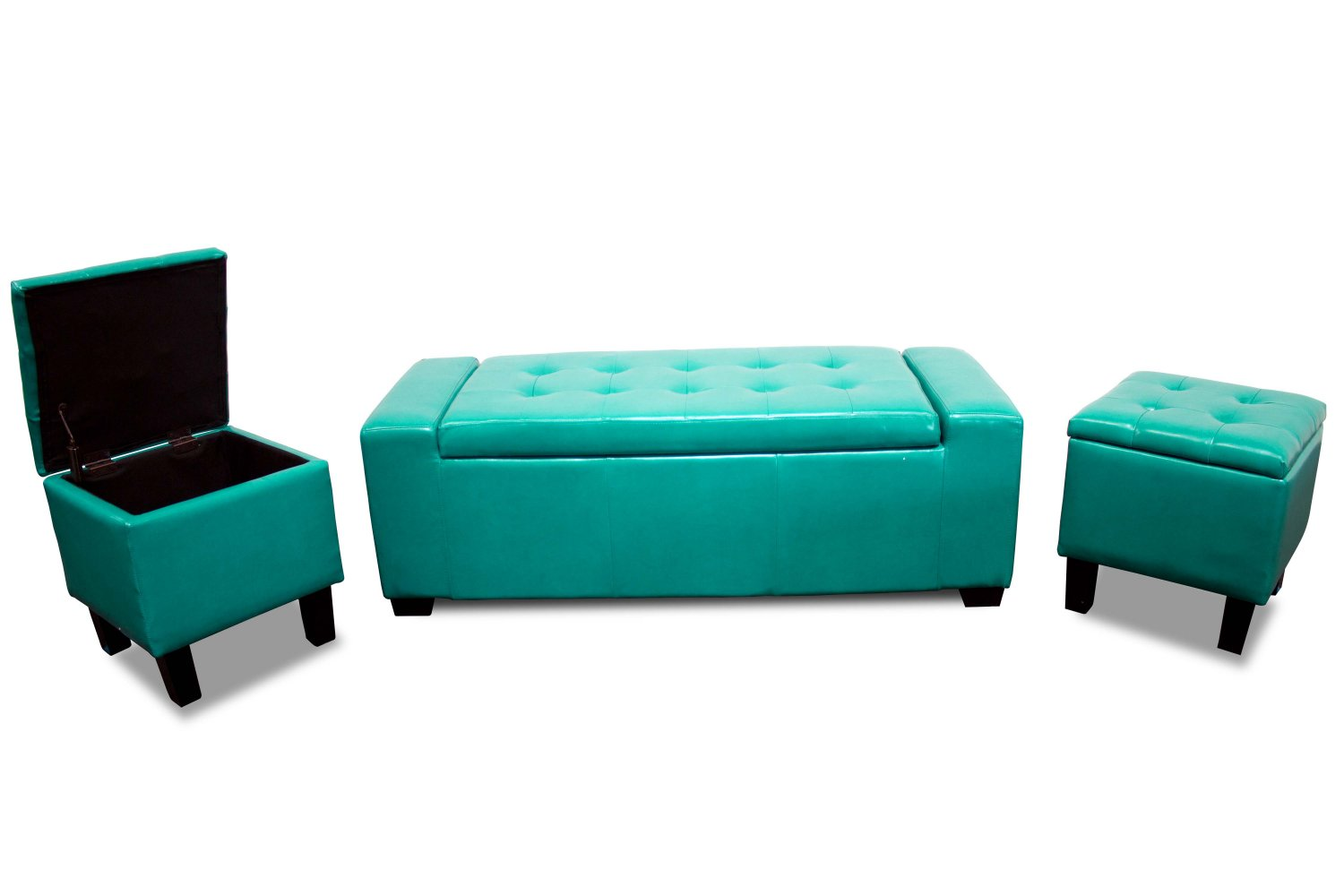 895 Newport Sea Green 3 Pcs Storage Bench Storage Stools