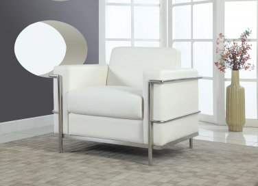 3018- Hilton Faux Leather Accent Arm Chair (White)