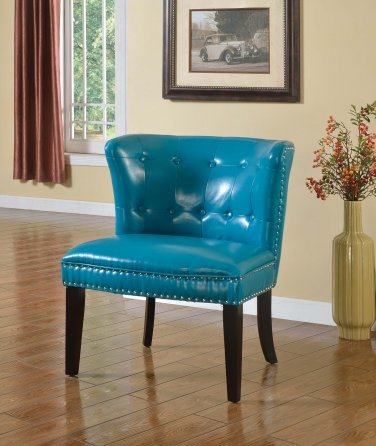 896 � Regal Tufted Accent Chair with Nail Heads (Sea Green)