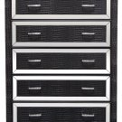 T1820 Tuxedo Mirrored 5 Drawer Chest (Black)