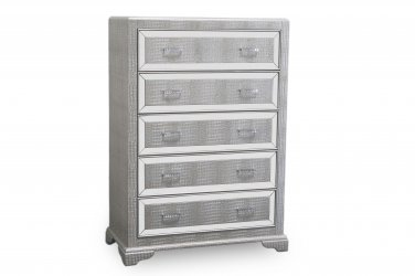 T1820 Tuxedo Mirrored 5 Drawer Chest (Silver)