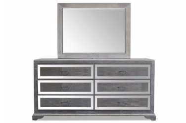 T1820 � Tuxedo Bedroom Dresser and Mirror Collection (Silver)