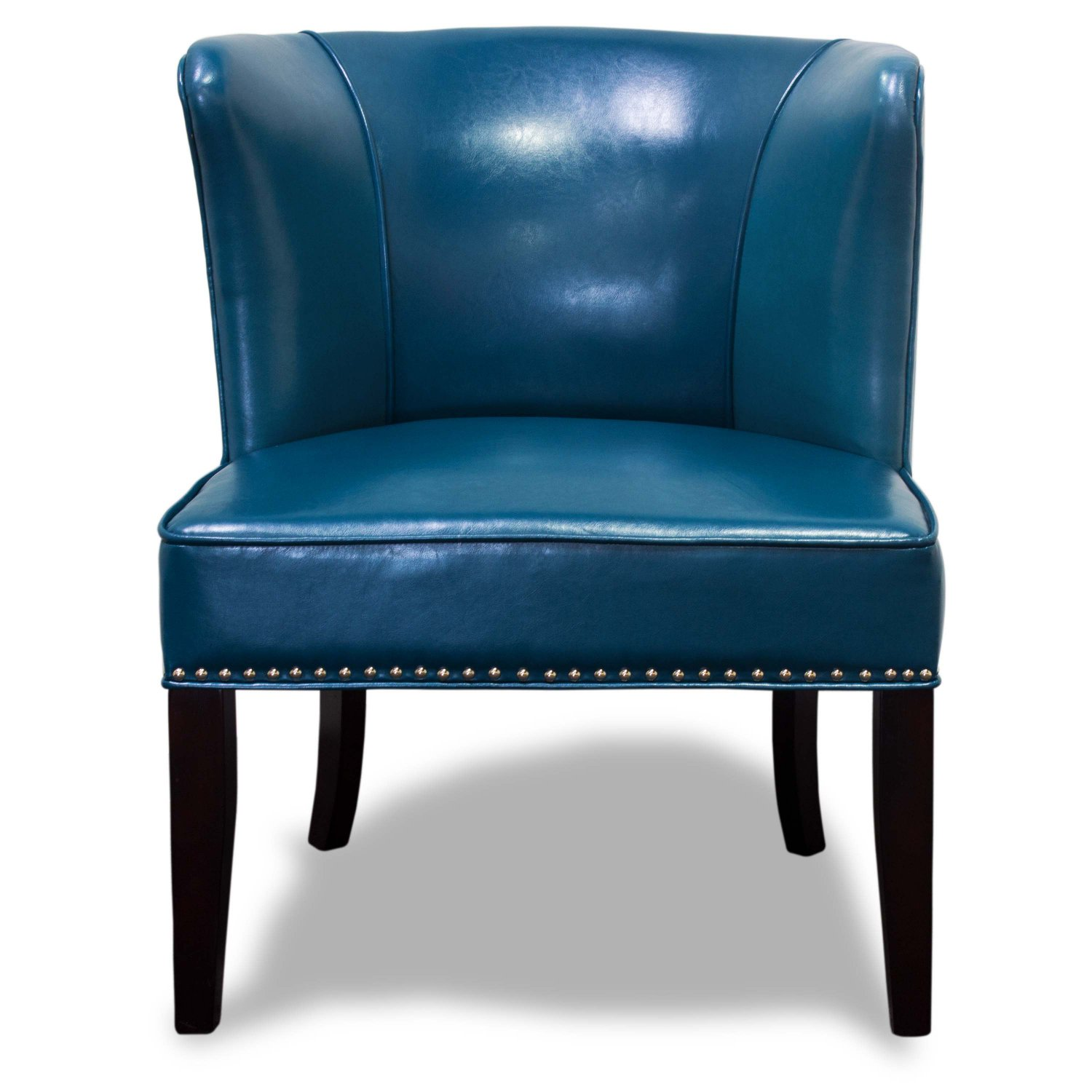 581 blue faux leather contemporary living room 2 pcs - Blue accent chairs for living room ...