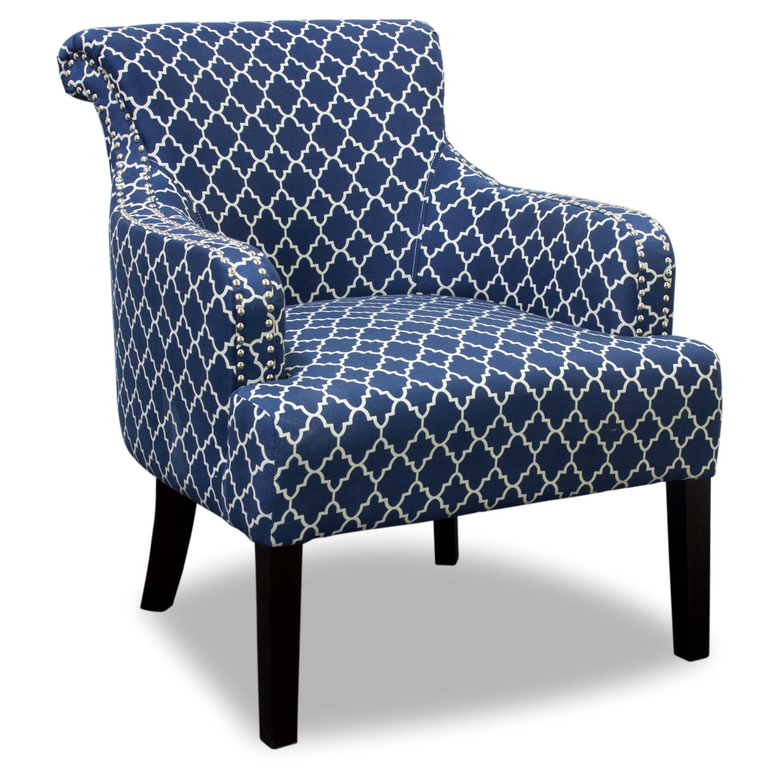 585 blue white regency living room accent chair