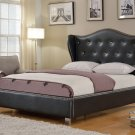 1018 – Emily Silver Bonded Leather Platform Bed with Crystal Like Studs (Queen)
