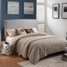 YY1001 – Mid Century Upholstered Headboard with Nail Heads (Taupe/ Twin Size)