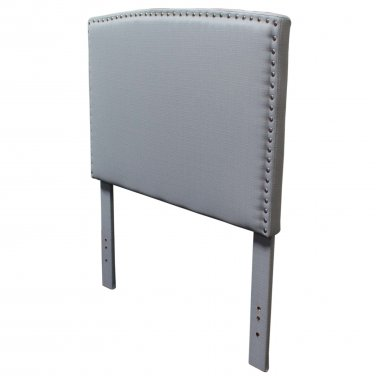 YY1001 � Mid Century Upholstered Headboard with Nail Heads (Pewter/ Full Queen Size)