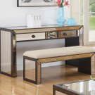 T1805 – Vanity Console Table with Bench Set (Silver with Hazelnut Trimmings)